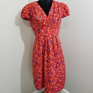 AS SEEN ON TV Anthro Hi There Red Flora Dress SZ 8